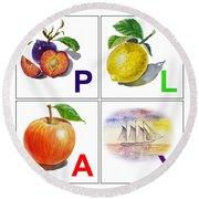 Play Art Alphabet For Kids Room Round Beach Towel by Irina Sztukowski