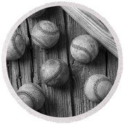 Play Ball Round Beach Towel