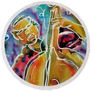 Play The Blues Bass Man Round Beach Towel