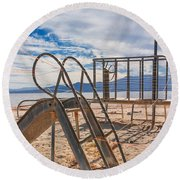 Play Time Is Over Slide Playground Round Beach Towel