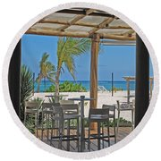 Playa Blanca Restaurant Bar Area Punta Cana Dominican Republic Round Beach Towel