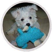 Playful Puppy Round Beach Towel