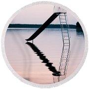 Playground Slide In Lake Round Beach Towel