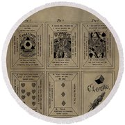 Playing Cards Patent Round Beach Towel