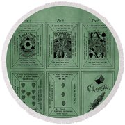 Playing Cards Patent Green Round Beach Towel