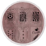 Playing Cards Patent Red Round Beach Towel
