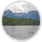Playing In Colter Bay In Grand Teton National Park-wyoming Round Beach Towel