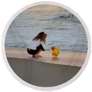Playing In The Ocean Round Beach Towel