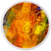 Playing With Bubbles Textured Abstract Artwork By Omaste Witkows Round Beach Towel by Omaste Witkowski