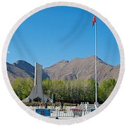 Plaza Across From Potala Palace Which Replaced A Natural Lake-tibet Round Beach Towel