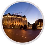 Plaza De Neptuno And Palace Hotel Round Beach Towel