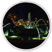 Plaza Fountain Round Beach Towel