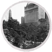 Plaza Hotel From Central Park Round Beach Towel