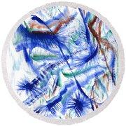 Plume Bleues Round Beach Towel