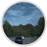 Pleasure Drive Paris Roads Tree Line And Wonderful Skyview Round Beach Towel