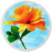 Pleasure - Yellow Double Hibiscus Round Beach Towel