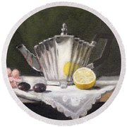 Pleated Teapot With Lemon Round Beach Towel by Sarah Parks
