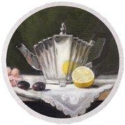Pleated Teapot With Lemon Round Beach Towel