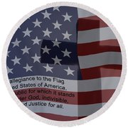 Pledge Of Allegiance Round Beach Towel