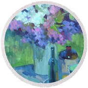 Plein Air Lilacs Round Beach Towel