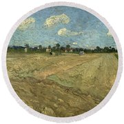 Ploughed Fields Round Beach Towel
