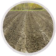 Plowed Spring Farmland Ready For Planting In Maine Round Beach Towel