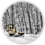 Plowin Snow Round Beach Towel