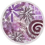 Plum And Grey Garden- Abstract Flower Painting Round Beach Towel