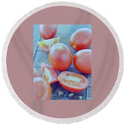 Plum Tomatoes On A Wooden Board Round Beach Towel by Romulo Yanes