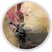 Plumeria - 64-115152167m4t3b Round Beach Towel