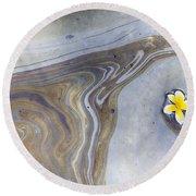 Plumeria In Oil Slick- Uss Arizona Memorial Shipwreck Site Round Beach Towel