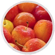 Plums  Round Beach Towel