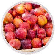 Plums In A Basket Round Beach Towel