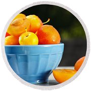 Plums In Bowl Round Beach Towel