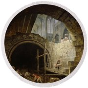 Plundering The Royal Vaults At St. Denis In October 1793 Oil On Canvas Round Beach Towel