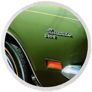 Plymouth Barracuda 340-s Emblem Round Beach Towel