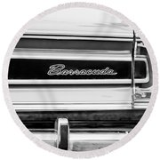 Plymouth Barracuda Taillight Emblem -0711bw Round Beach Towel