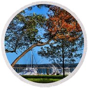 Plymouth Harbor In Autumn Round Beach Towel
