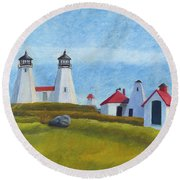 Plymouth Light Station Before 1924 Round Beach Towel