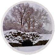 Plymouth Meeting Lime Kilns In The Snow Round Beach Towel