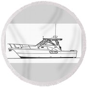 Pocket Yacht Profile Round Beach Towel