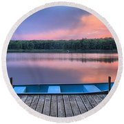 Poconos Lake Whitney Sunset Rowboat Round Beach Towel