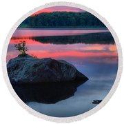 Poconos Lake Whitney Sunset Silhouette Round Beach Towel