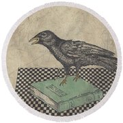 Poe And The Crow Round Beach Towel