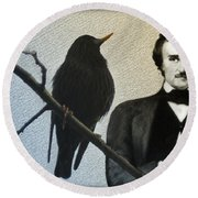 Poe And The Raven Round Beach Towel