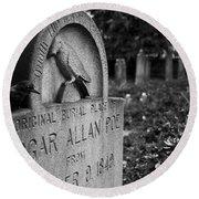 Poe's Original Grave Round Beach Towel by Jennifer Ancker