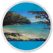 Pohutukawa Nz - Beach And Rangitoto  Round Beach Towel