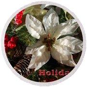 Poinsetta Christmas Card Round Beach Towel