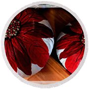 Poinsettias - Handmade - Crafts - Pumpkins Round Beach Towel