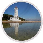 Point Abino Lighthouse Reflection Round Beach Towel